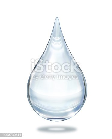Water drop close up view isolated on white background. Clipping path included.