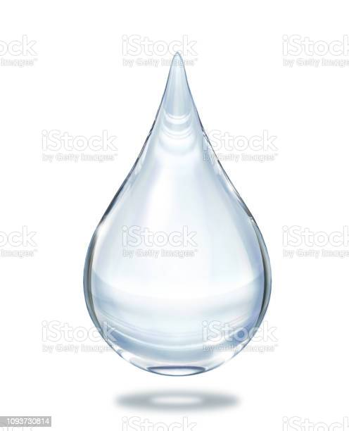 Photo of Water drop close up view isolated on white background.