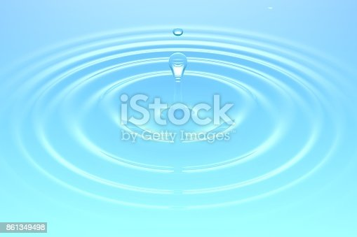 607461154istockphoto Water drop falling into water surface 861349498
