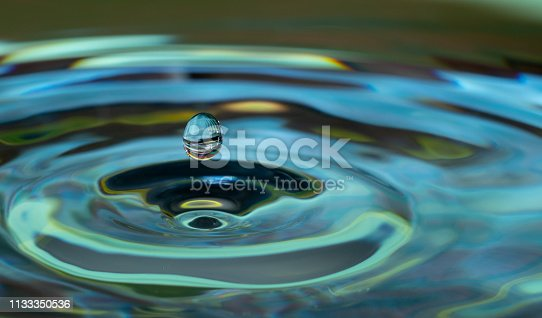 water drop falling and impacting on a body of water close up