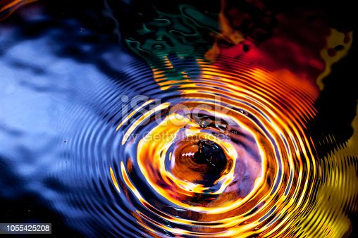 Water Drop Ripple over a colorful Water Surface. Vivid colors are naturally reflected and not digitally generated.