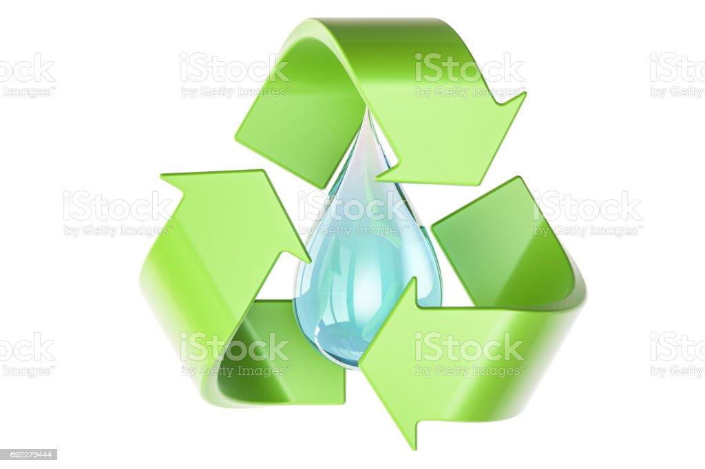 Gota de agua con símbolo de reciclaje, aislado en fondo blanco de procesamiento 3D - foto de stock