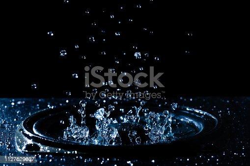 istock Water droplets on the loudspeaker. 1127529607