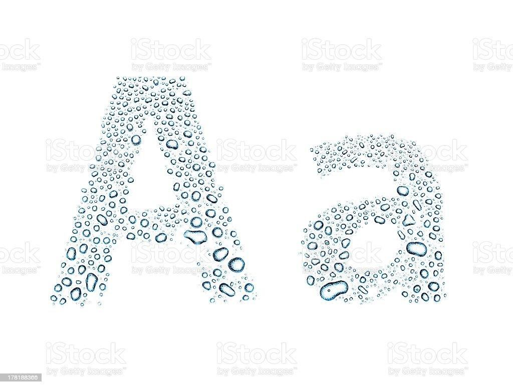 Water drops alphabet letter a, isolated white stok fotoğrafı