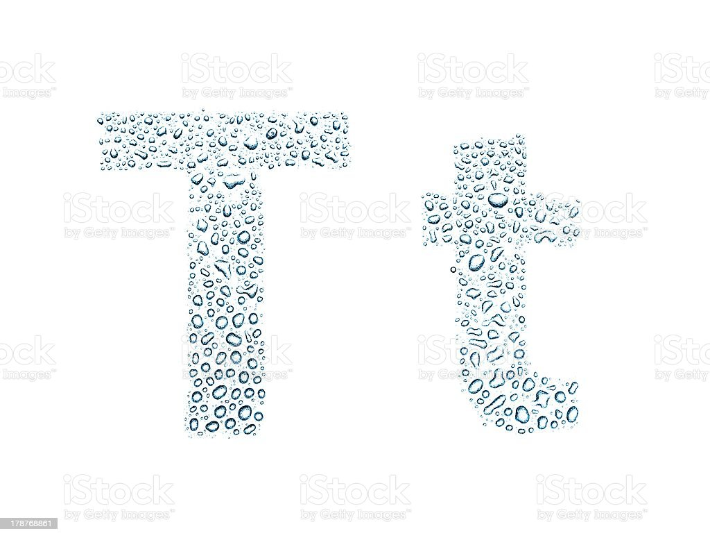 Water drops alphabet letter t, isolated white royalty-free stock photo