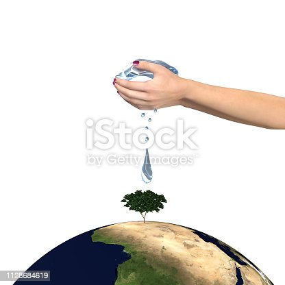 Water drops from hand to tree on earth ,Elements of this image furnished by NASA,3D rendering