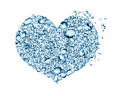 Heart shape made from lot of blue water drops