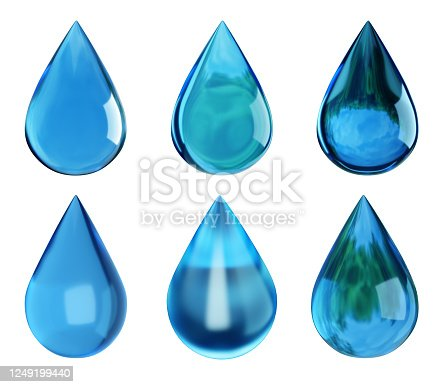 808471266 istock photo Water drops isolated on white. Drop with reflection. Ecology symbol. 3D illustration 1249199440