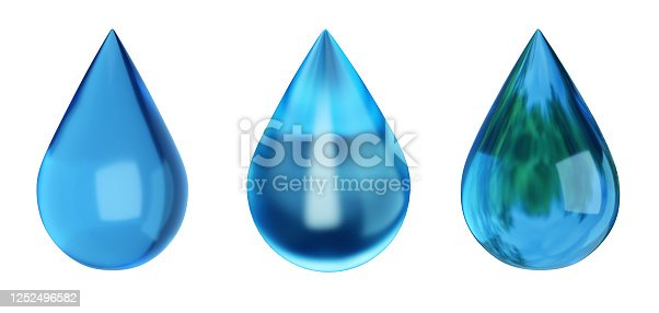 808471266 istock photo Water drops isolated on white. Drop with reflection. Ecology symbol. 3D illustration 1252496582
