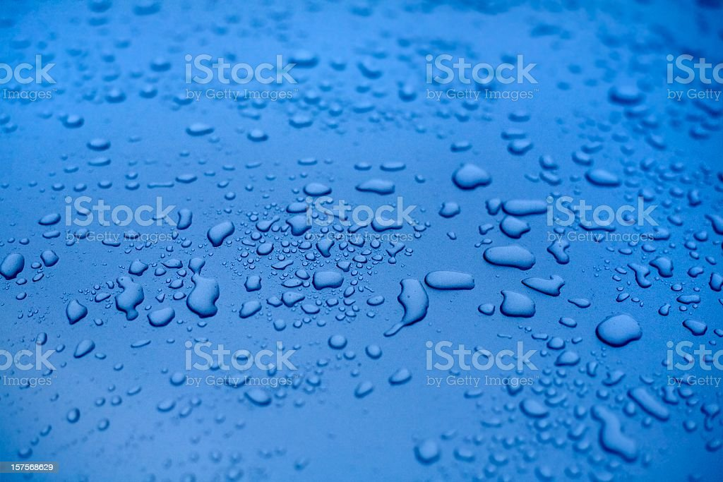 Water drops on a polished blue motorhood stock photo