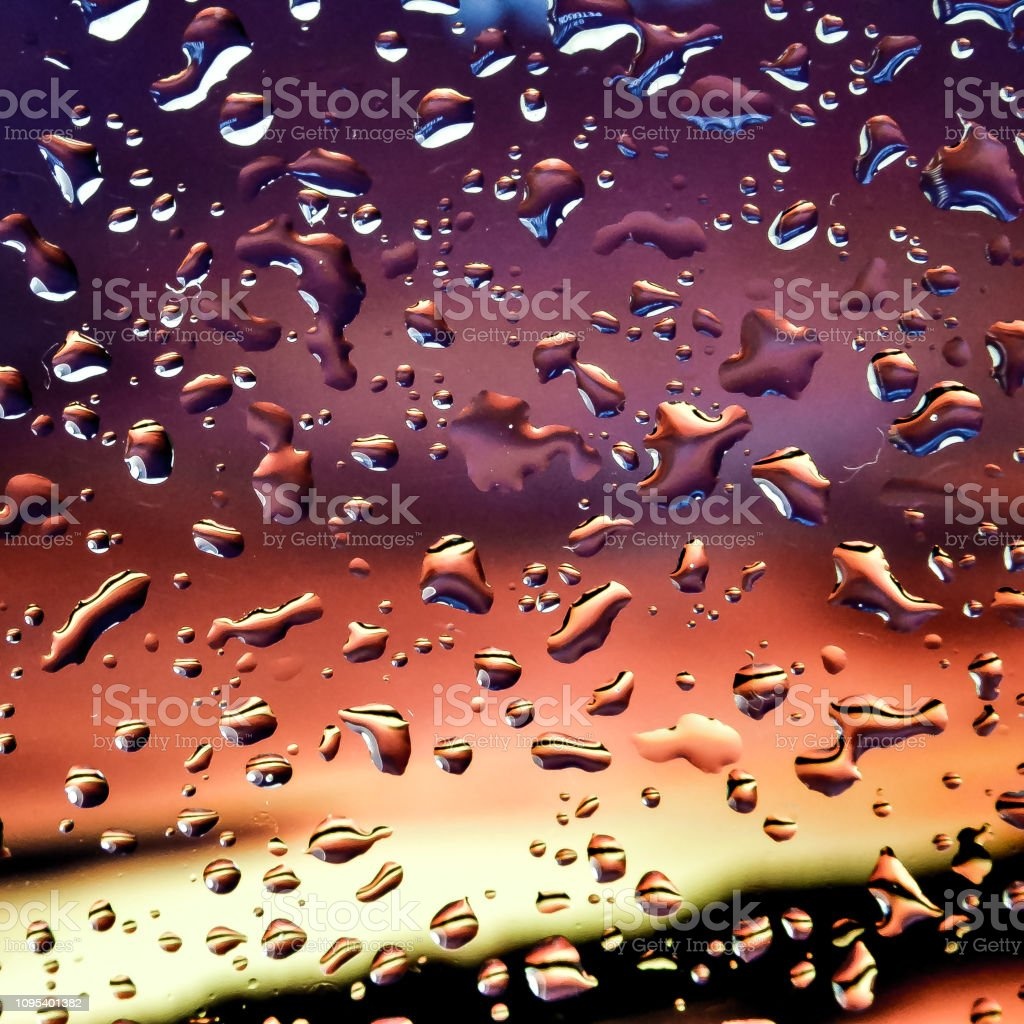 Water drops on colorful background stock photo