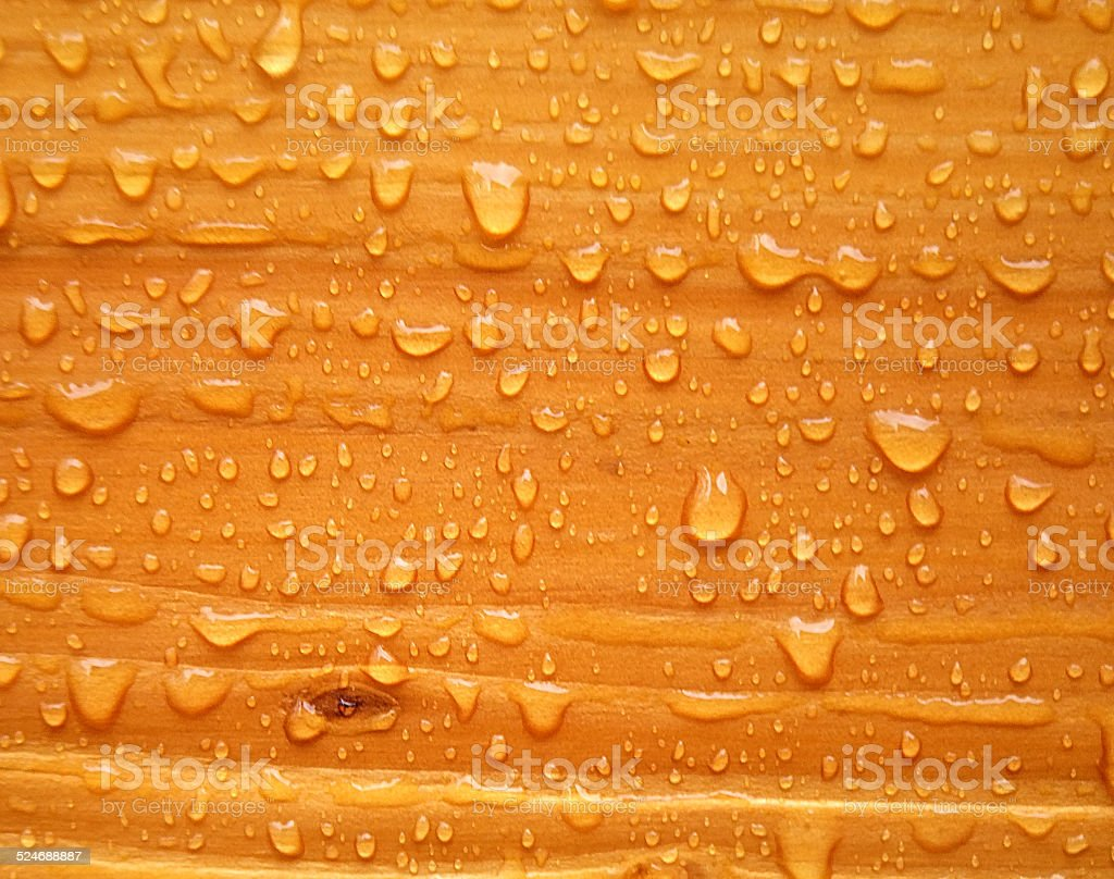 Water Drops on Stained Wood. stock photo