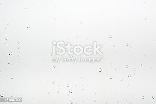 Water drops on white surface background.