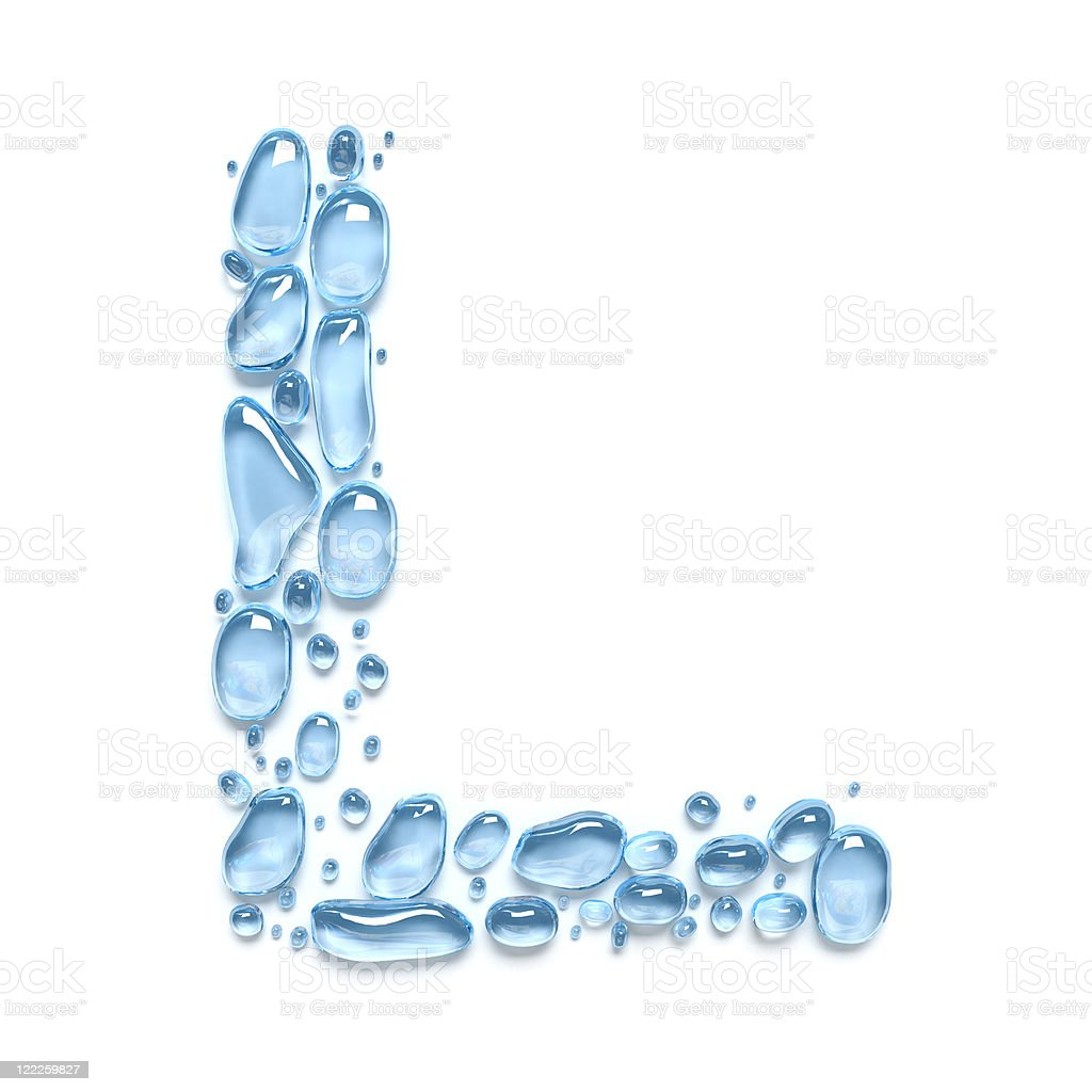 Water drops. The letter L royalty-free stock photo