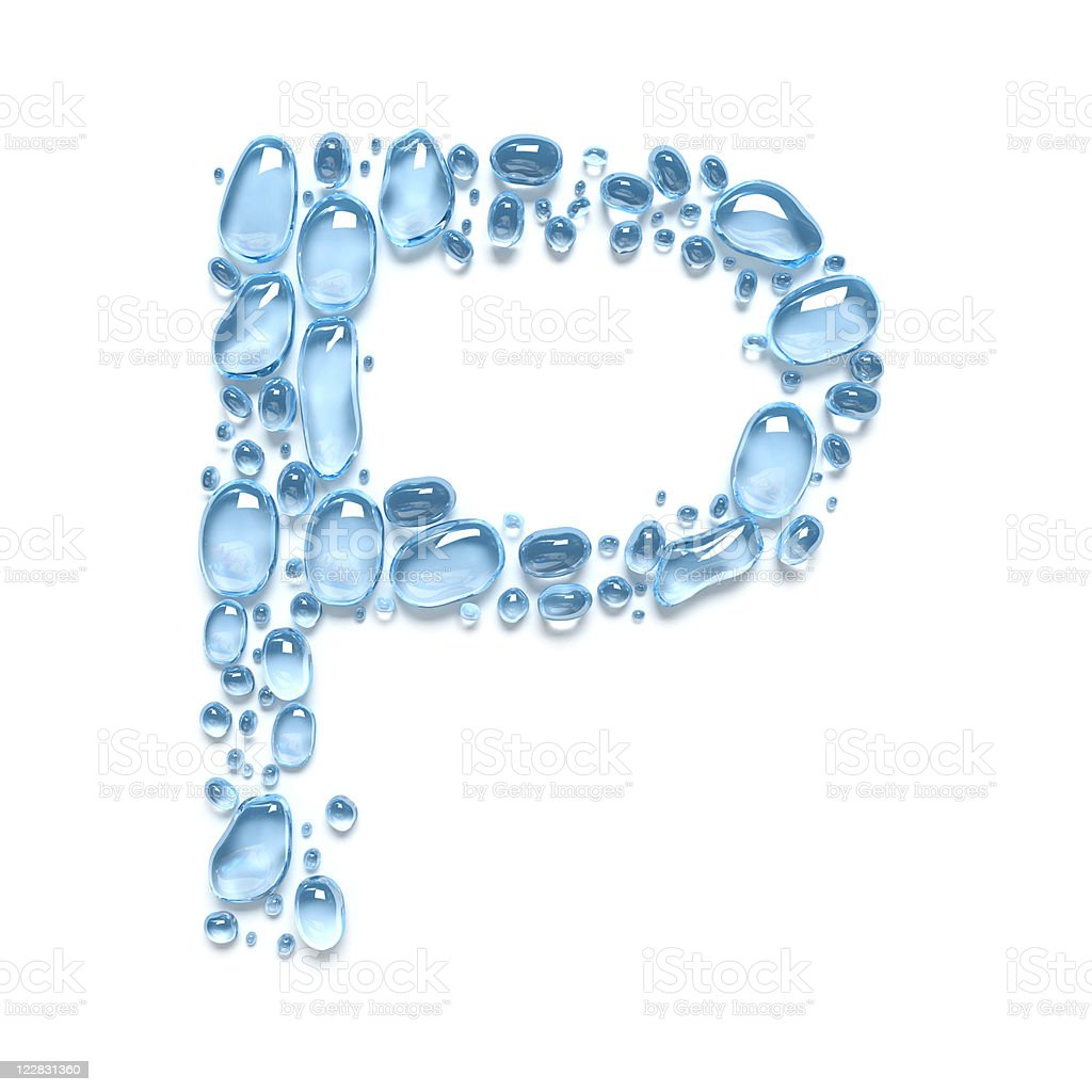 Water drops. The letter P royalty-free stock photo