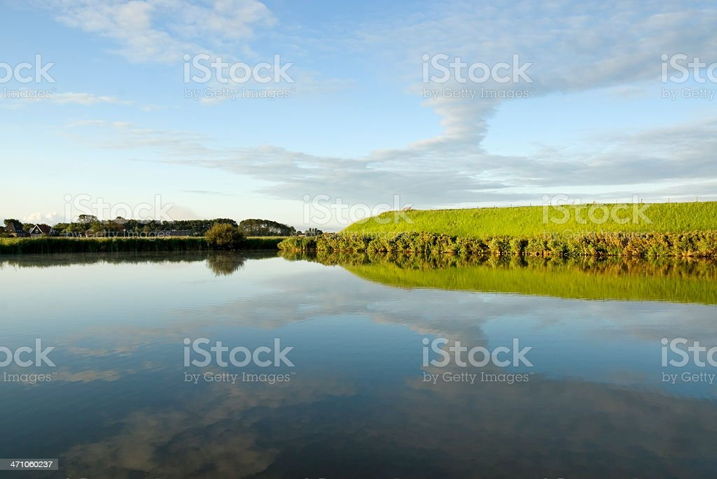 Water, Dyke and Sky royalty-free stock photo