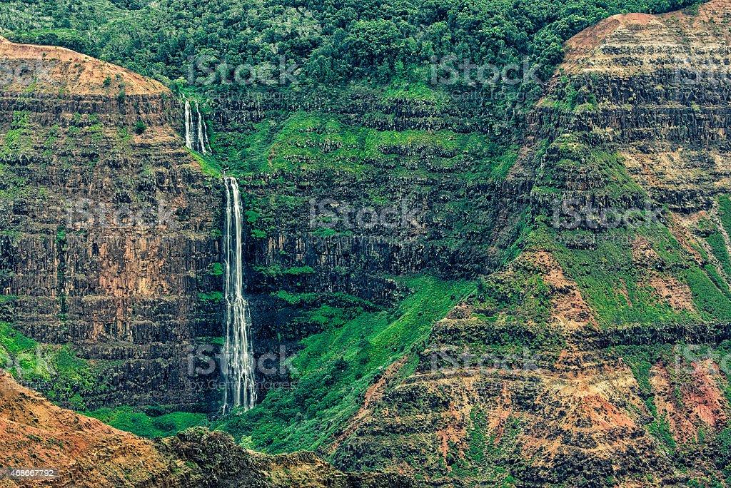 Water Fall at Kalalau Lookout stock photo