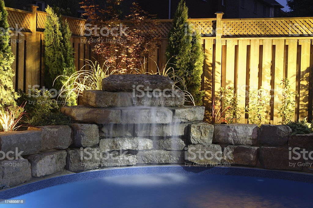 Water fall at the pool royalty-free stock photo