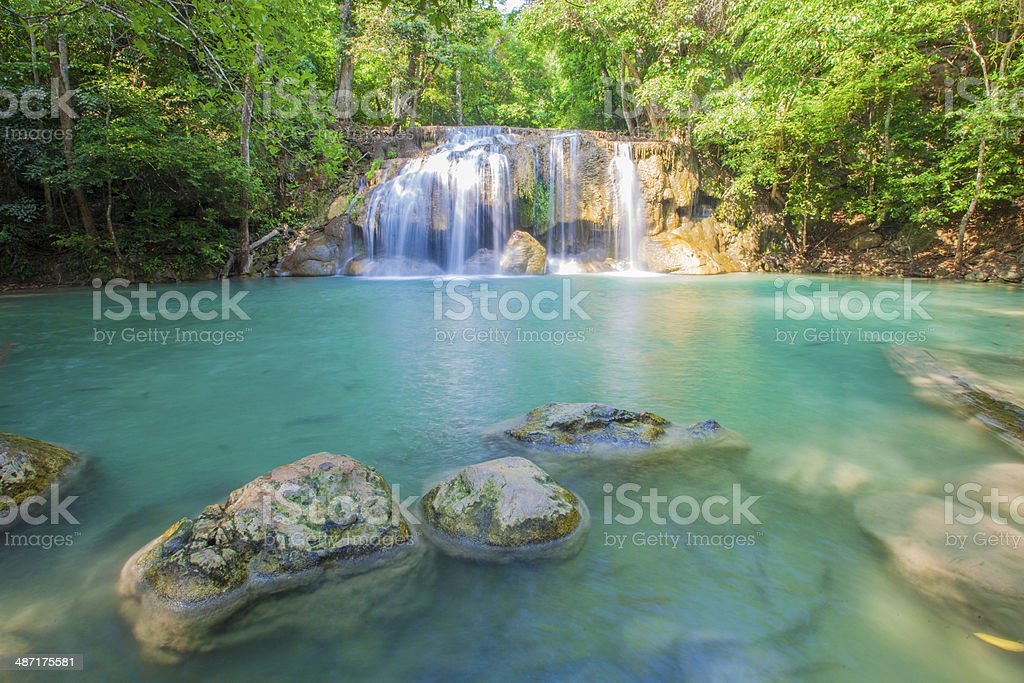 water fall Fairy Forest waterfall captured on long exposure. Chlorophyll Stock Photo