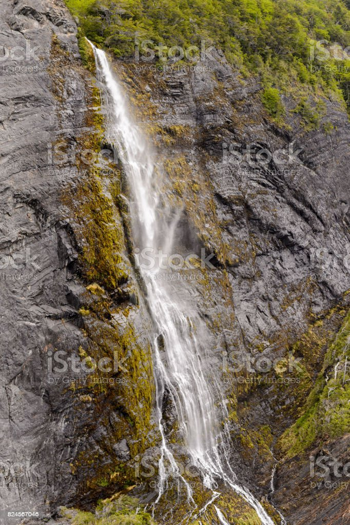 Water fall in Bernardo O'Higgins National Park, Chile stock photo