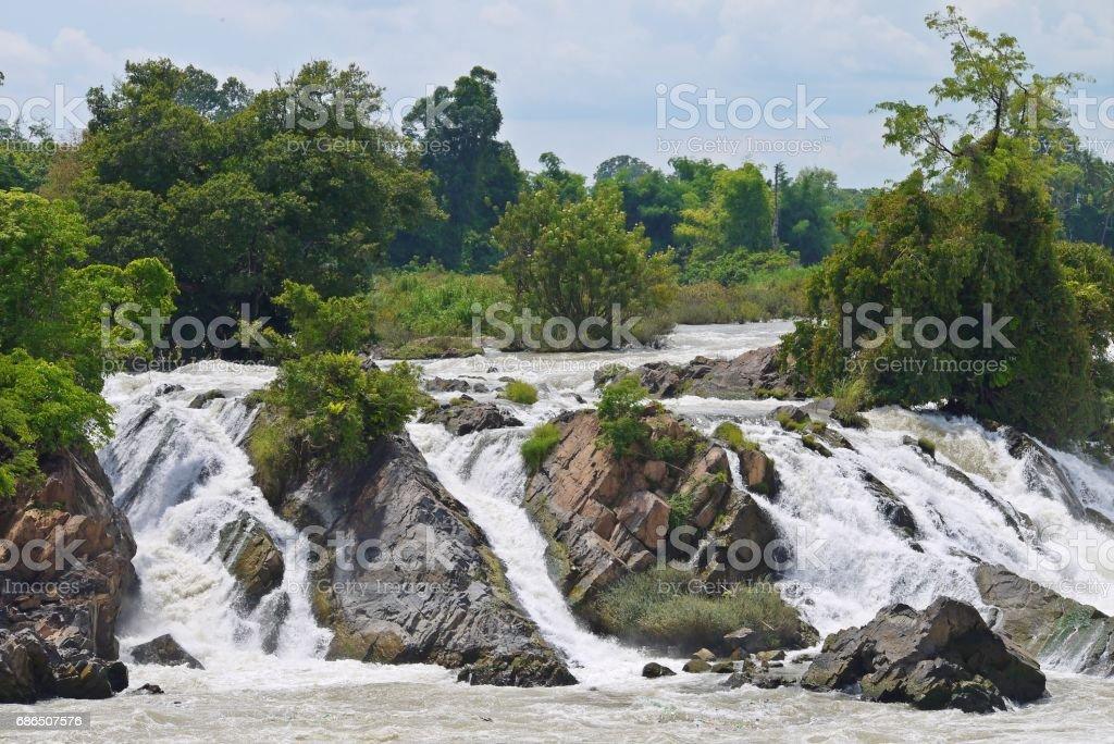 Water fall in pakse , Laos. royaltyfri bildbanksbilder