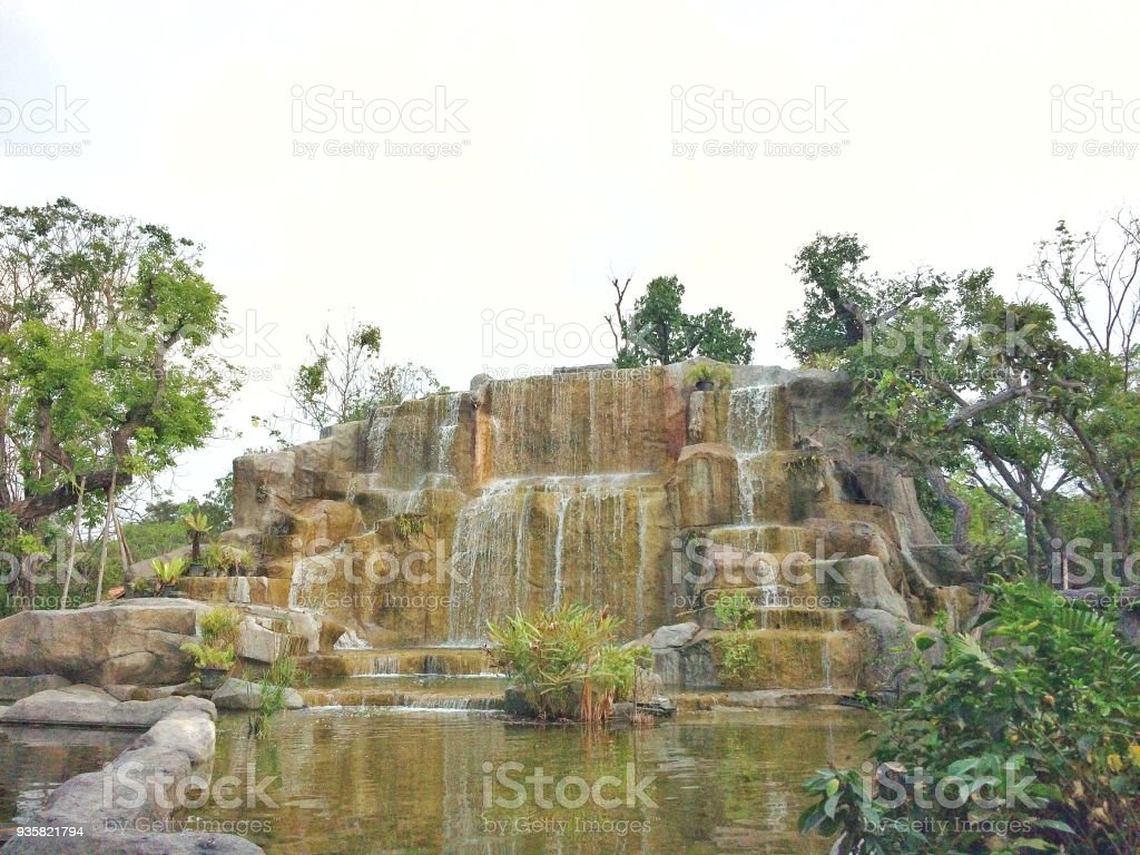 Water Fall On Nature White Background Stock Photo Download Image Images, Photos, Reviews