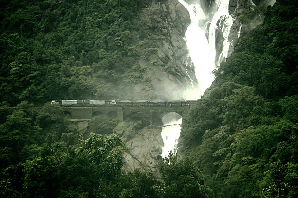 Water Fall Beautiful high waterfall on the goa near where Passing trains goa stock pictures, royalty-free photos & images