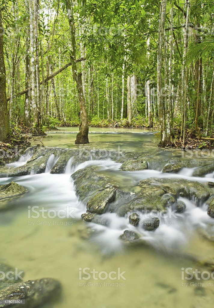 water fall tourist attraction in Krabi,thailand royalty-free stock photo