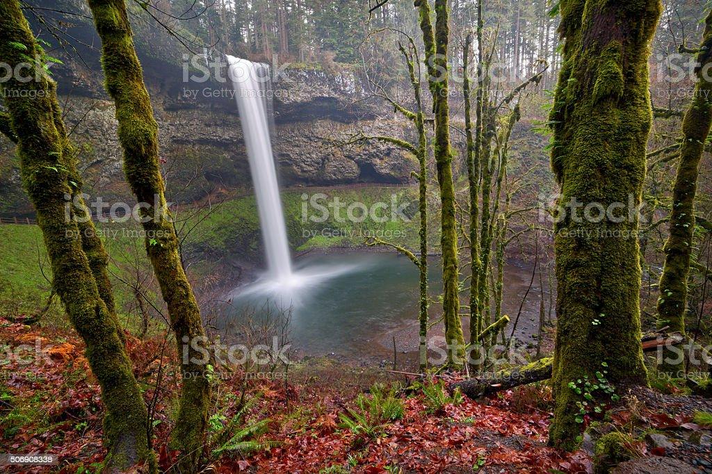 Water Falls in winter stock photo