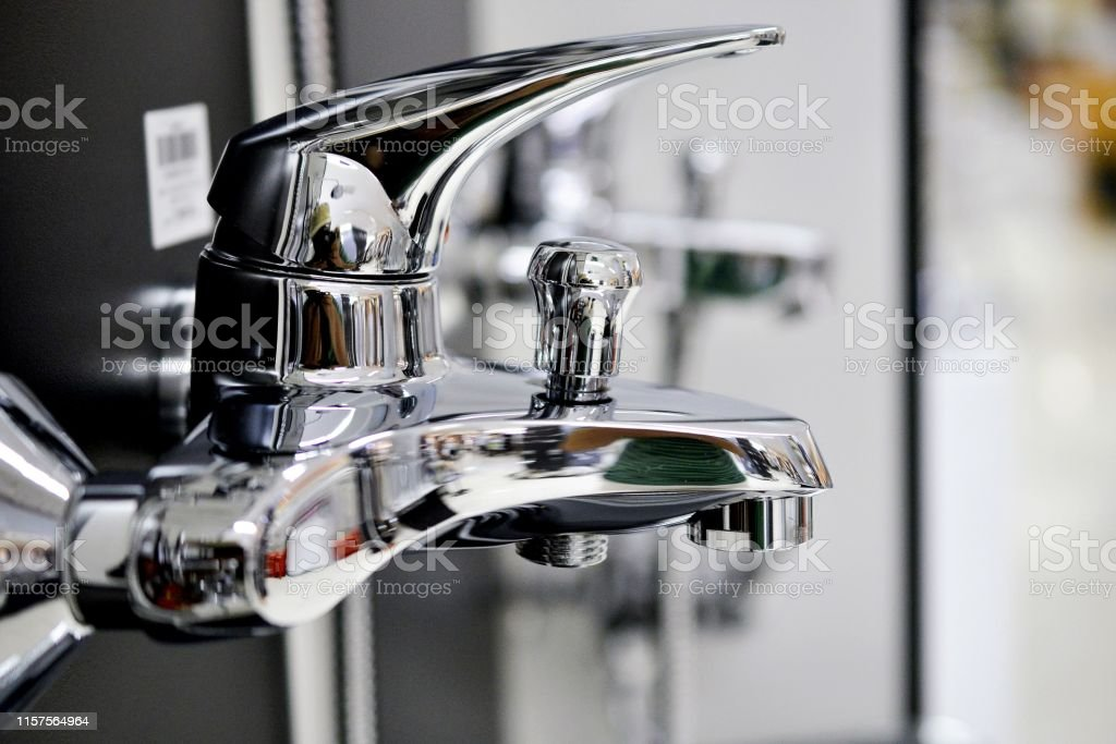 Water faucet, bathroom faucet and kitchen faucet. Chrome-plated...