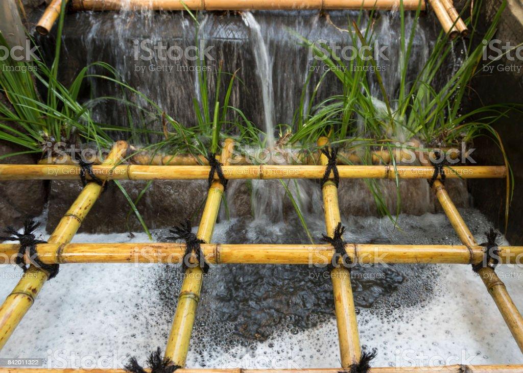 Water Feature Bamboo Portland Japanese Garden Oregon stock photo