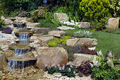 A garden water feature on a summers day.