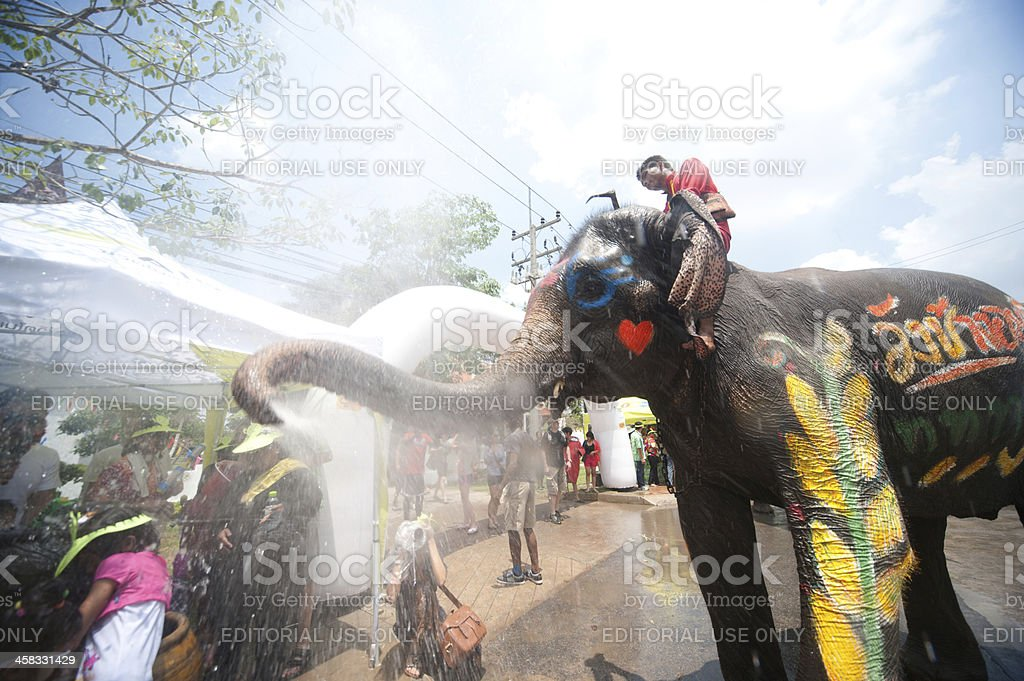Water festival in Thailand. stock photo
