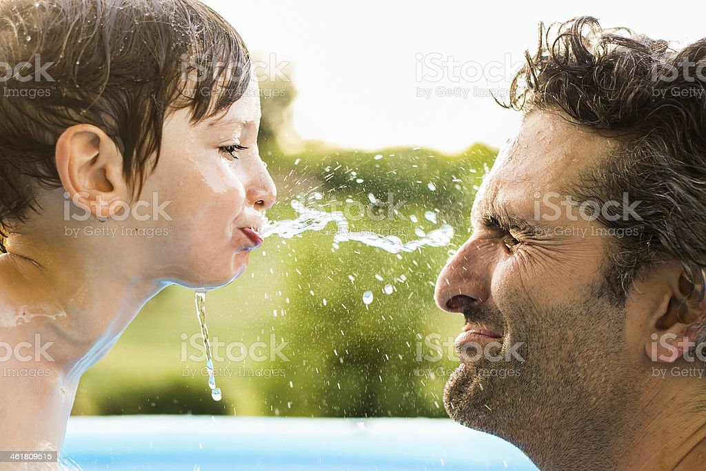 Water fight stock photo