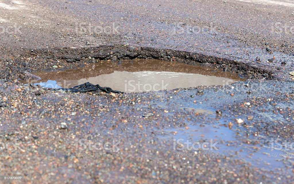 Water Filed Pothole stock photo