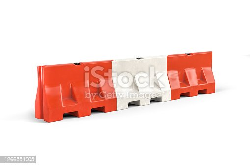 Water filled barricade isolated on white background - 3d render