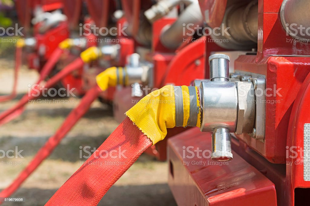 water fire hose with truck stock photo