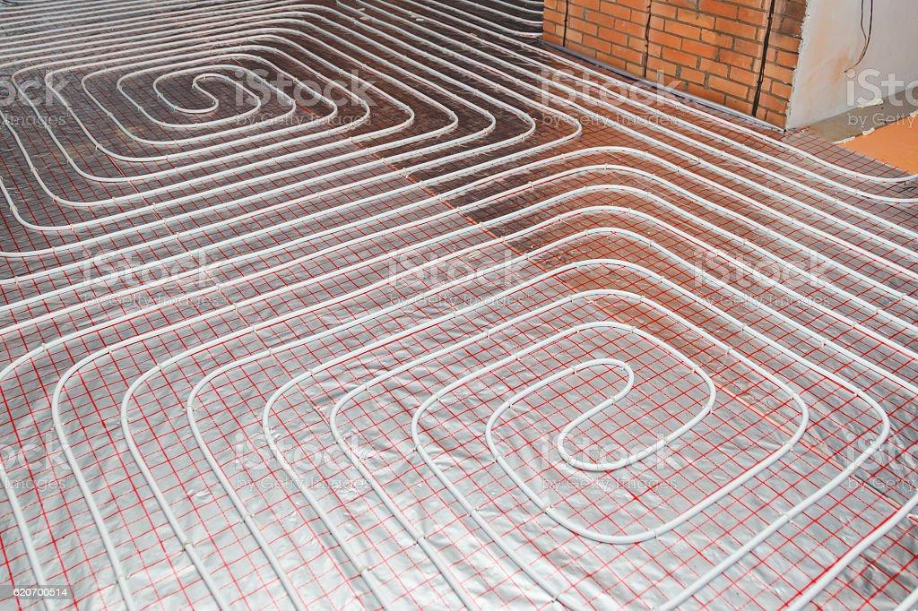 water floor heating system underfloor stock photo
