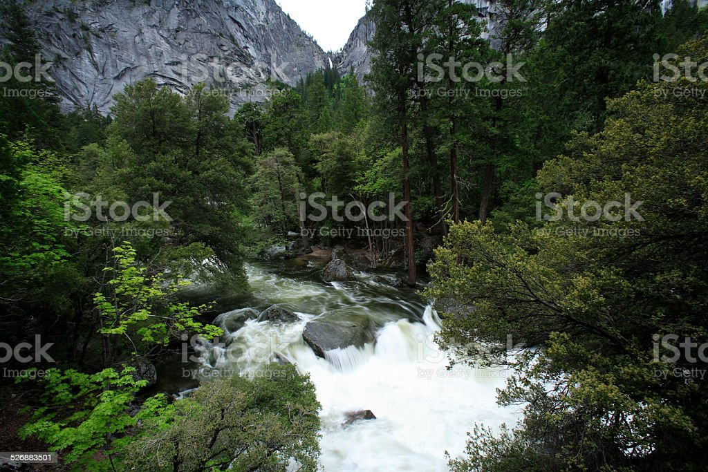 water flowing  at Yosemite national park, USA, May 2010 stock photo