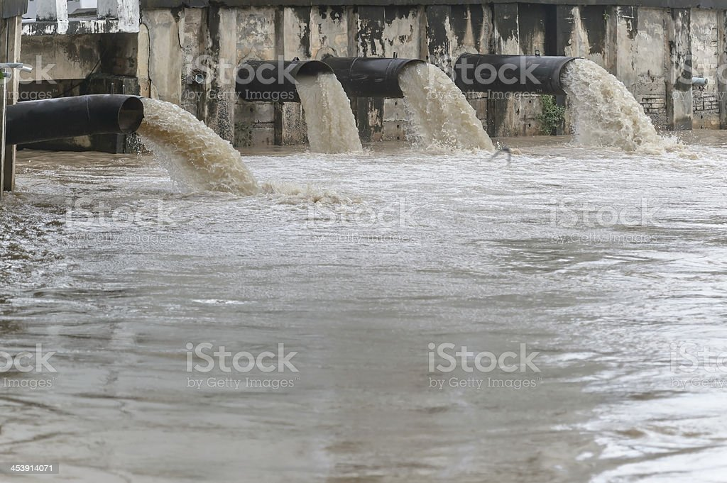 water flowing from a drain pipe stock photo