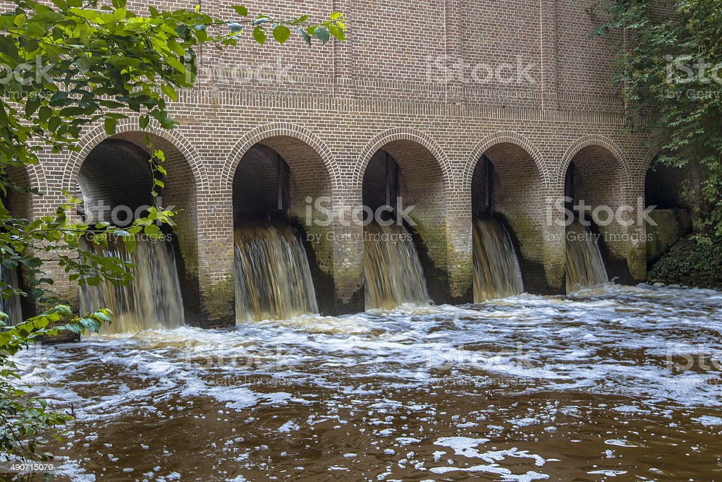 Water flowing from Schuivenhuisje stock photo