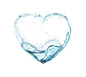 water flowing into heart shapes, Concept about Health treatment,The shape of the heart that communicates about love.