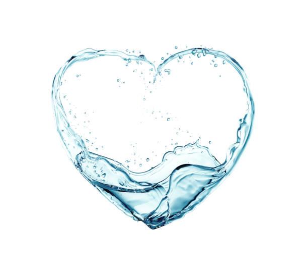 心臓の形に流れる水 ストックフォト