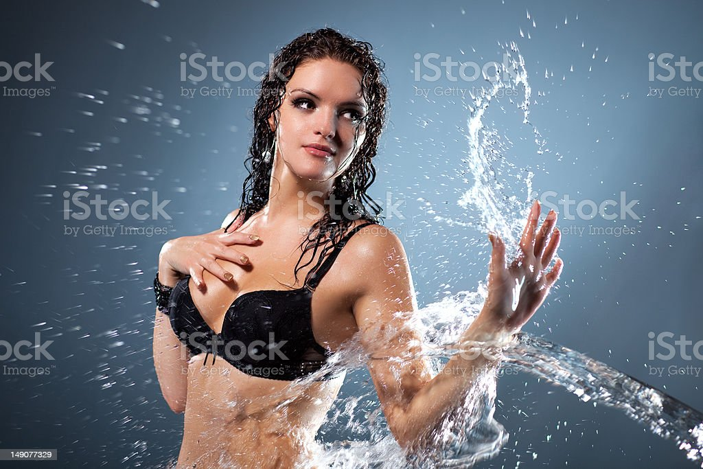 Water flowing on woman hand royalty-free stock photo