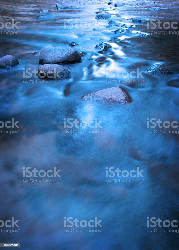Water Flowing Over Rocks in Small Stream royalty-free stock photo