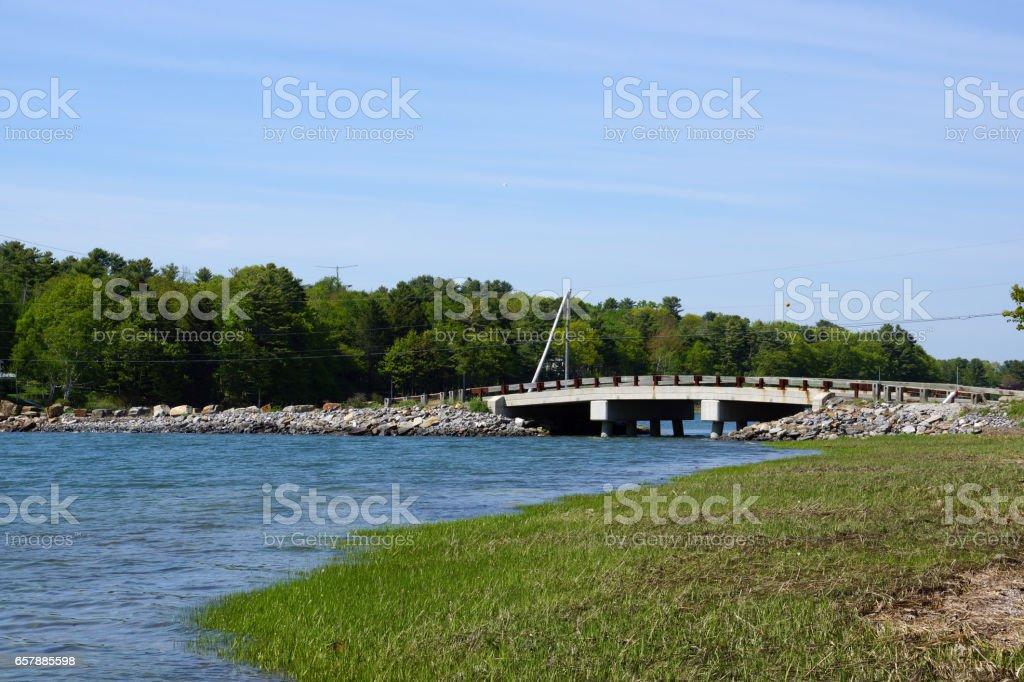 water flows below Talbot Rd. Bridge, Cousins to Littlejohn Island, Yarmouth, Maine stock photo