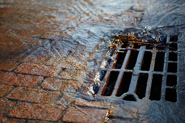 wasser fließt in die luke an einem sonnigen tag im frühling - kanalisationsabflüsse stock-fotos und bilder