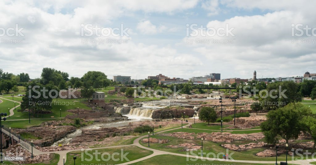 Water Flows Sioux Falls City Center Skyline South Dakota stock photo