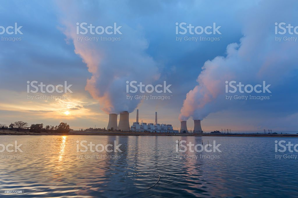 Water, fogg and clouds stock photo