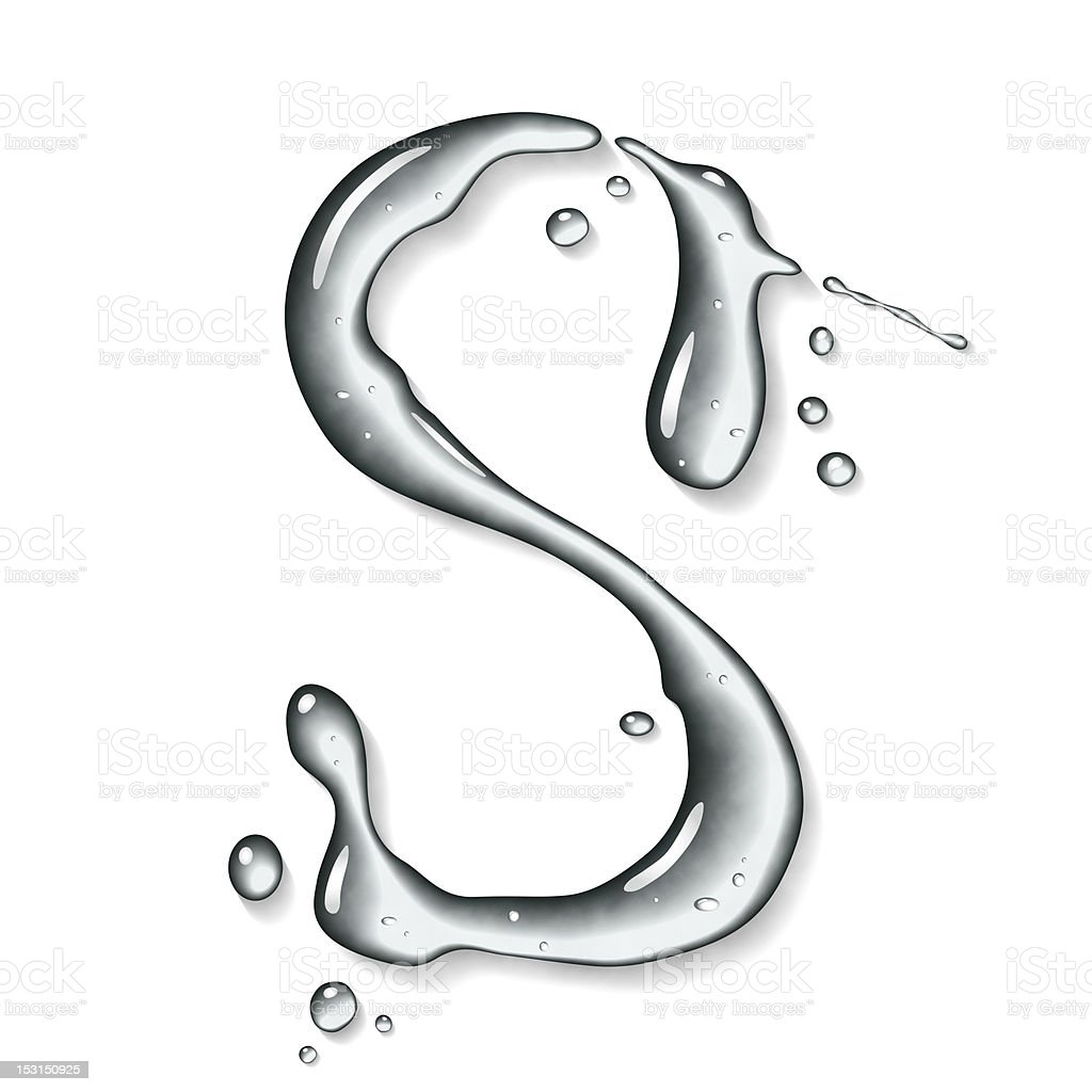 Water font. Letter S. stock photo